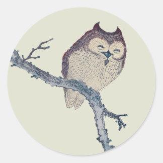 Vintage Japanese Sleeping Owl Classic Round Sticker