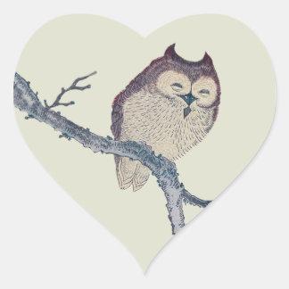 Vintage Japanese Sleeping Owl Heart Sticker