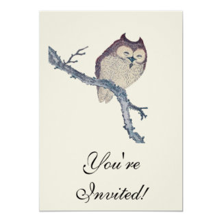 Vintage Japanese Sleeping Owl 5x7 Paper Invitation Card