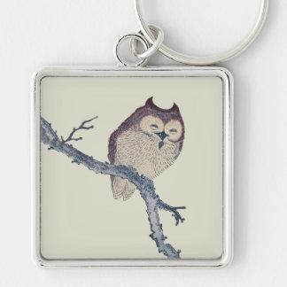 Vintage Japanese Sleeping Owl Keychain