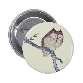 Vintage Japanese Sleeping Owl Pinback Button