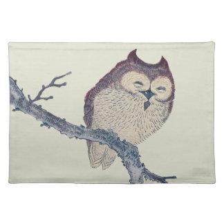 Vintage Japanese Sleeping Owl Placemat