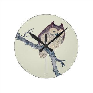 Vintage Japanese Sleeping Owl Round Clock