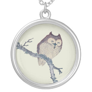 Vintage Japanese Sleeping Owl Silver Plated Necklace