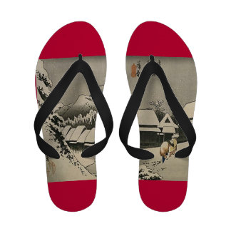 Vintage Japanese Snowy Mountain Art Sandals