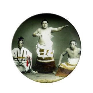 Vintage Japanese Sumo Wrestlers Old Japan Plate