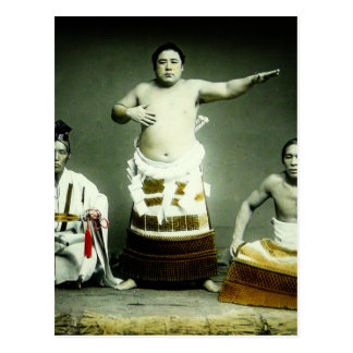 Vintage Japanese Sumo Wrestlers Old Japan Postcard
