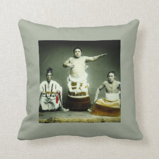Vintage Japanese Sumo Wrestlers Old Japan Throw Pillow