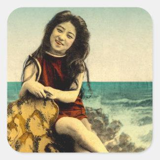 Vintage Japanese Swimsuit Bathing Beach Beauty Square Sticker