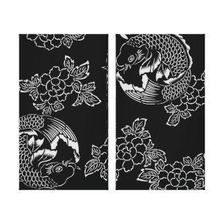 Vintage Japanese Tattoo Koi(Carp) Gallery Wrapped Canvas