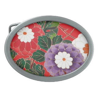 Vintage Japanese Textile - Red Dahlias Oval Belt Buckle