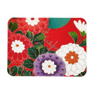 Vintage Japanese Textile - Red Dahlias Flexible Magnets