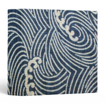 Vintage Japanese Textile, Wave Pattern 3 Ring Binder