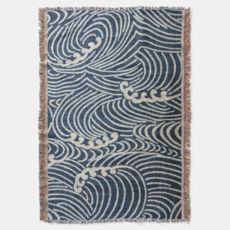 Vintage Japanese Textile, Wave Pattern Throw