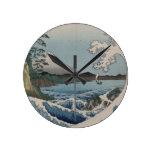 Vintage Japanese The Sea of Satta Round Wall Clocks