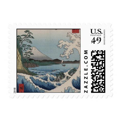 Vintage Japanese The Sea of Satta Postage Stamps