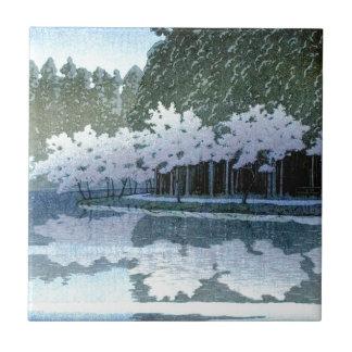 Vintage Japanese Trees on Water Woodblock Art Ceramic Tile