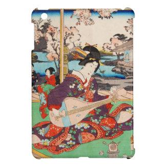 Vintage japanese ukiyo-e geisha playing Biwa art iPad Mini Covers
