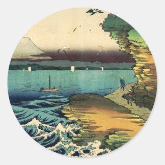Vintage Japanese Ukiyo-e Mt. Fuji 房州保田ノ海岸 Classic Round Sticker