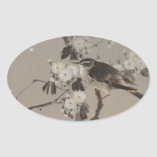 VIntage Japanese Ukiyo-e Painting of A Bird Oval Sticker