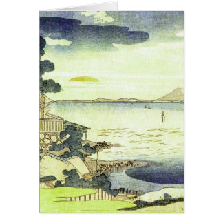 Vintage Japanese Village by the Sea Card
