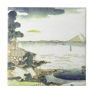 Vintage Japanese Village by the Sea Ceramic Tile