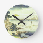 Vintage Japanese Village by the Sea Round Wall Clock