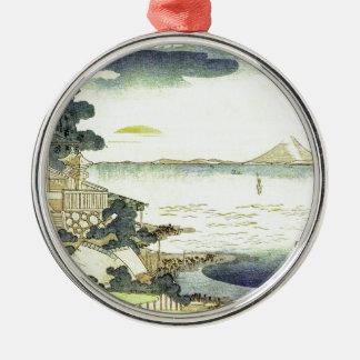 Vintage Japanese Village by the Sea Metal Ornament