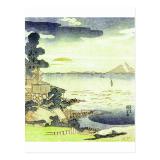 Vintage Japanese Village by the Sea Postcard