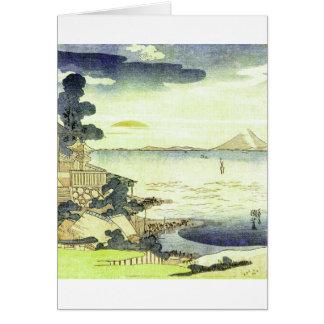 Vintage Japanese Village by the Sea Woodblock Art Card