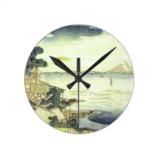 Vintage Japanese Village by the Sea Woodblock Art Round Clock
