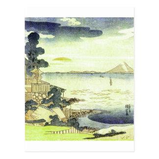 Vintage Japanese Village by the Sea Woodblock Art Postcard