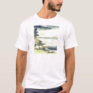 Vintage Japanese Village by the Sea Woodblock Art T-Shirt