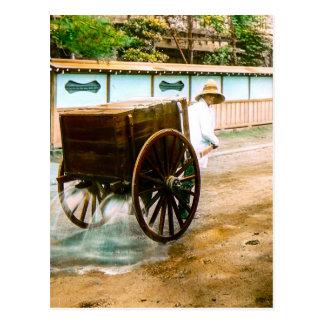 Vintage Japanese Water Wagon Man Old Japan Postcard