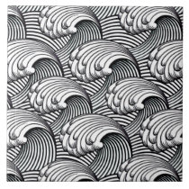 Vintage Japanese Waves, Black and White Ceramic Tile