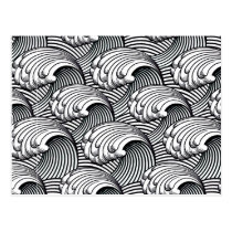 Vintage Japanese Waves, Black and White Postcard