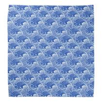 Vintage Japanese Waves, Cobalt Blue and White Bandana