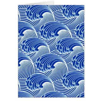 Vintage Japanese Waves, Cobalt Blue and White Card