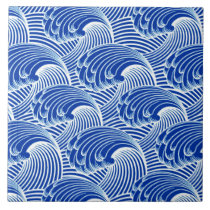 Vintage Japanese Waves, Cobalt Blue and White Ceramic Tile