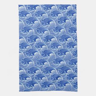 Vintage Japanese Waves, Cobalt Blue and White Hand Towel