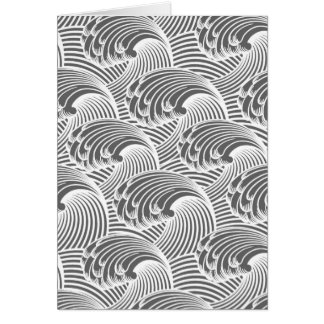 Vintage Japanese Waves, Gray / Grey and White Card