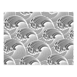 Vintage Japanese Waves, Gray / Grey and White Postcard