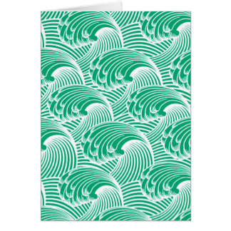 Vintage Japanese Waves, Jade Green and White Card