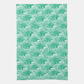 Vintage Japanese Waves, Jade Green and White Hand Towels