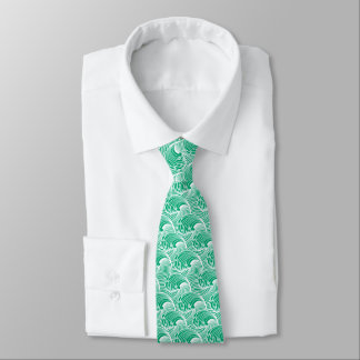 Vintage Japanese Waves, Jade Green and White Neck Tie