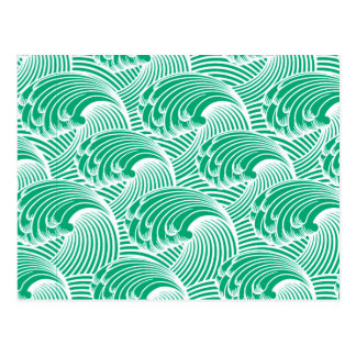 Vintage Japanese Waves, Jade Green and White Postcard
