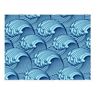 Vintage Japanese Waves, Navy and Sky Blue Postcard