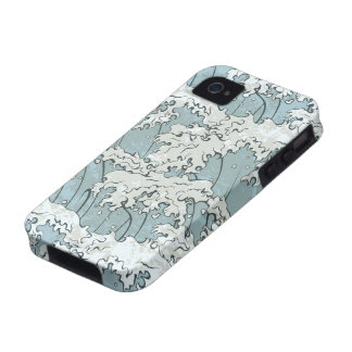 vintage japanese waves pattern iPhone 4/4S covers