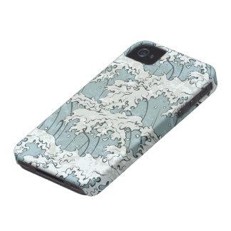 vintage japanese waves pattern iPhone 4 cases
