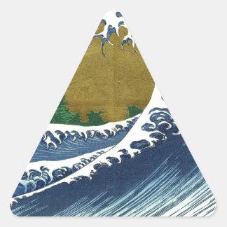 Vintage Japanese Waves Triangle Sticker